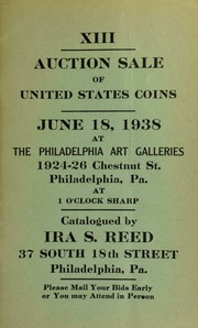 XIII. Auction sale of United States coins ... at the Philadelphia Art Galleries ... [06/18/1938]