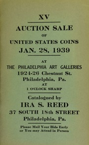 XV. Auction sale of United States coins ... at the Philadelphia Art Galleries ... [01/28/1939]