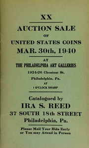 XX. Auction sale of United States coins ... at the Philadelphia Art Galleries ... [03/30/1940]