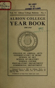 Vol 1909-10: Year-book of Albion College for ..