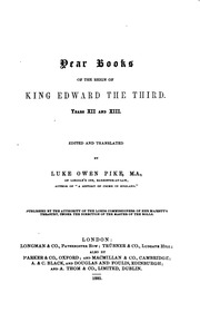 Vol 1: Year Books of the Reign of King Edward the Third
