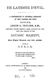 Ye lateste Devil, a contribution to universal biography setting forth briefly some account of ...