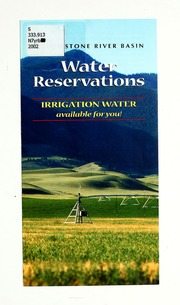 Vol 2002: Yellowstone River Basin water reservations : irrigation water available for you!