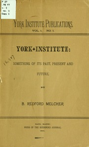 Vol 1: York Institute Publications