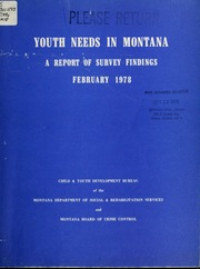Vol 1978: Youth needs in Montana : a report of survey findings