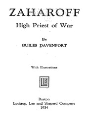 Zaharoff High Priest Of War