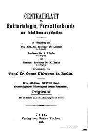 Centralblatt für Bakteriologie, Parasitenkunde und Infektionskrankheiten